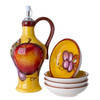 Cucina Italiana Ceramic Olive Oil. Dispenser Bottle with 4 Dipping Plates
