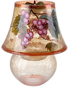 Murano Cracked Glass Lamp Candle Holder