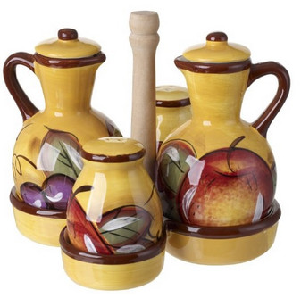 Ceramic Cruet Set With Caddy Apple Fruit Design