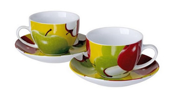 Cucina Italiana Porcelain Apple Decor Coffee Cup and Saucer