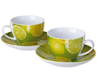 Cucina Italiana Porcelain Coffee Mug and Saucer Set of 2 Lemon Decor