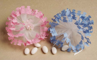 Pink/Blue Gingham Netting 25 pcs bag wedding party favors sale