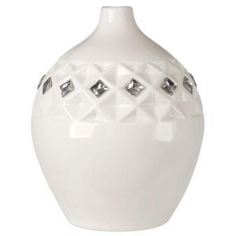 Bone Chine Vase White with Swarovski Crystals