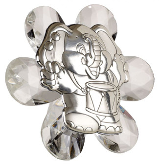 Elephant With Drum 925 silver on Crystal