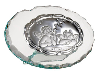 Italian Silver Argento Guardian Angels Crystal Holy icon