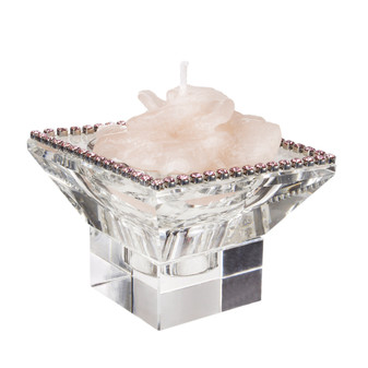 Crystal Candle holder with Pink Swarovski