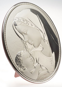 Italian 925 Silver Oval Madonna with Child Icon