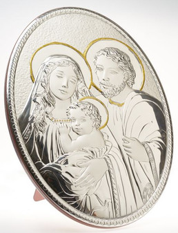 Italian 925 Silver Oval Holy Family Icon Plaque