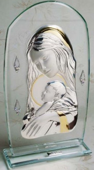 Madonna and Child Icon 925 Silver w.18kt Gold Plated