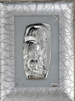 Holy Family Wall Picture Silver Frame  925 Silver Argento