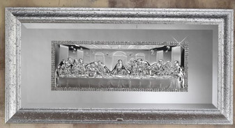 The Last Supper 925 Silver Religious Plaque In Frame