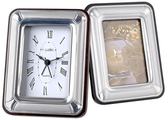 Silver Clock and Frame set