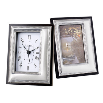 Italian Silver Table top Clock with matching frame wedding favors