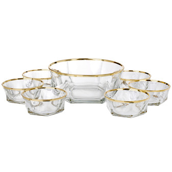 Italian Crystal Salad Bowls 18 Carat Band 7 Piece Set