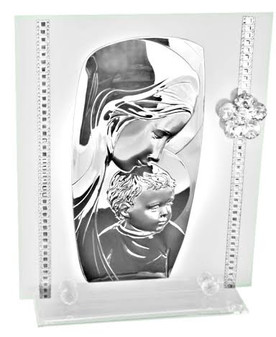 Madonna w. Child w swarovski flower plaque