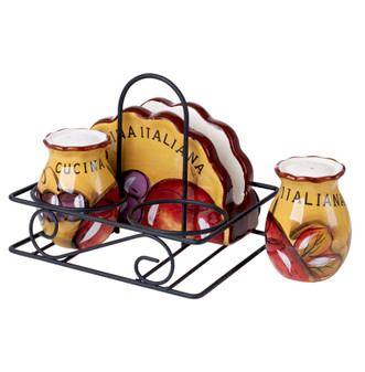 Original Cucina Italiana Ceramic 3 Piece Kitchen Condiment Set