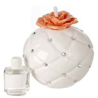 Decorative Aroma Diffuser White, Swarovski Peach Flower Top