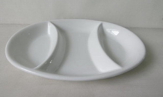 Appetizer Plates Divided 3 Section Oval Ceramic (Single unit)