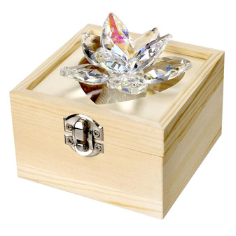 Crystal Lotus Flower with Wooden Box (Gift)