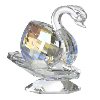 Italian Crystal Swan Figurine Amber Highlights