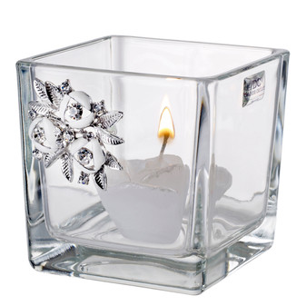 Italian Crystal Votive Candle holder with Swarovski Brooch
