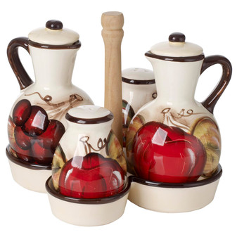 Ceramic Oil and Vinegar Cruet Set, with Salt and Pepper Shakers