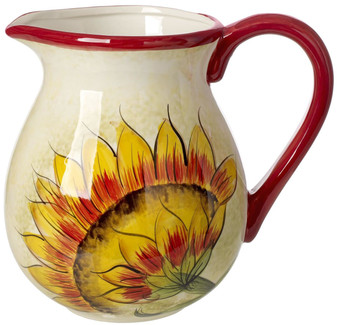 Ceramic Decorative Water Pitcher 3.5 Quart, Sunflower Decor