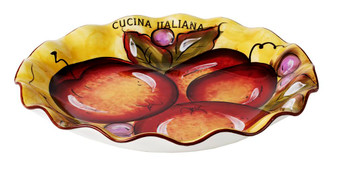 Original Cucina Italiana Large Serving Pasta Plate Scalloped Ceramic 13 x 13 In