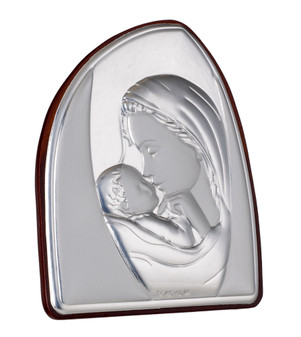 Italian  Madonna and Child 925 Silver Argento  Icon Wall Portrait