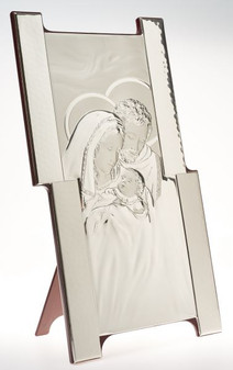 Italian Holy Family 925 Silver Argento Holy Family Wall or Tabletop Religious Plaque