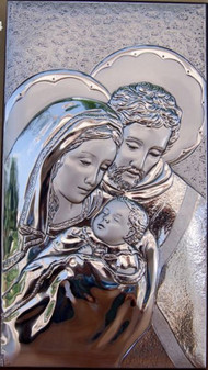 Italian Holy Family 925 Silver Argento Italy Wall Or Dresser Plaque