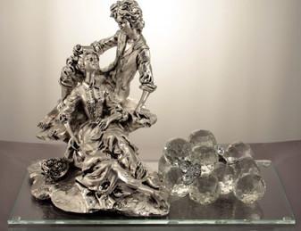 Newlyweds Figurine 925 Silver w, Swarovski Crystals