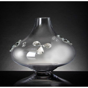 Glass Table Bud Vase with Crystal Petals