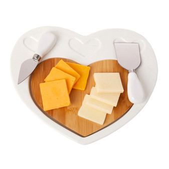 Cheese Cutting Board Heart Shaped Porcelain on Bamboo