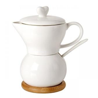 Creamer and Sugar Set White Porcelain Heart shape lid