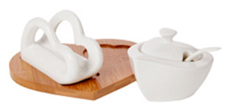 Sugar Holder &  Napkin Holder White Porcelain Bamboo ( Gift)
