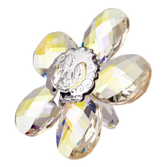 Holy Family Icon Crystal Star Shape Argento