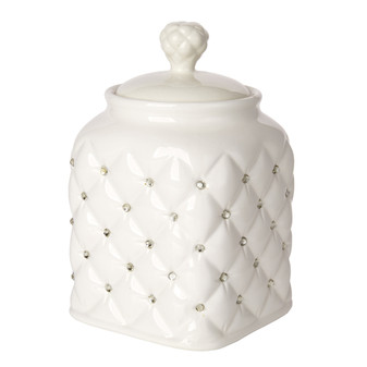 Kitchen Canister Porcelain Decorative Crystal Accents