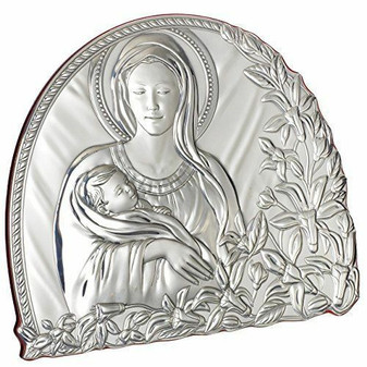 Madonna With Child Religious Icon Sterling Silver Argento