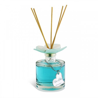 Decorative  Reed Diffuser with Plexiglas's Flower Top Aqua Blue