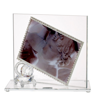 Baby Photo Frame w, Swarovski Crystal border & Crystal Stroller (Favor)