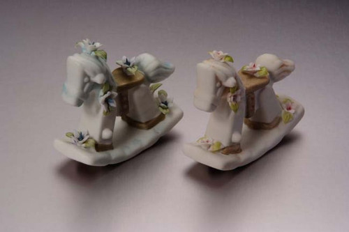 Porcelain Baby Rocking Horse Blue Min. 6 pcs  wedding party favors clearance