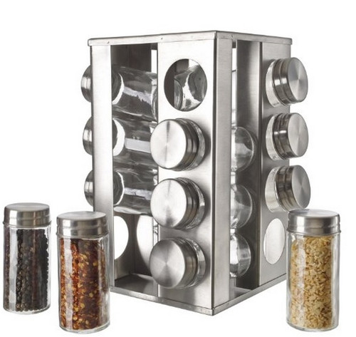 18/8 Stainless Steel and Glass Rotating Spice Rack 16 Jar Set