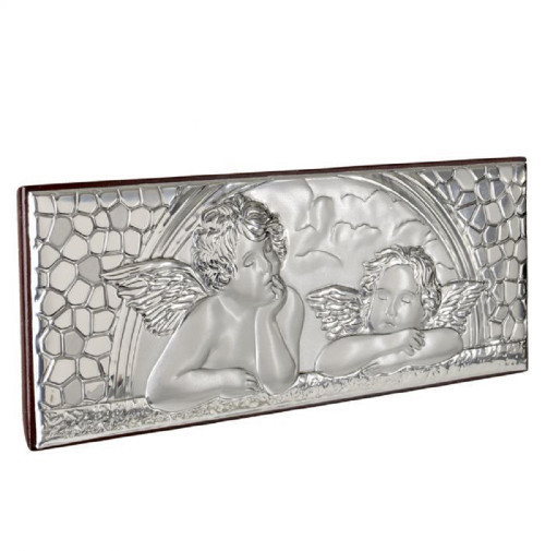 Sterling Silver Argento Italian Guardian Angel Baby On Cherry Wood Back