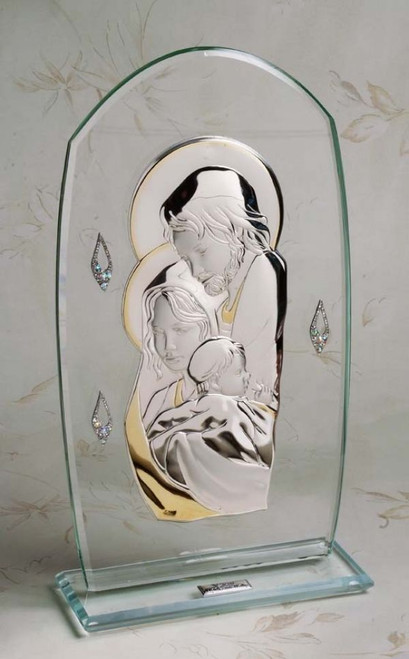 Argento 925 Silver W.18kt Gold Plated Accents Holy Family religious wedding gifts