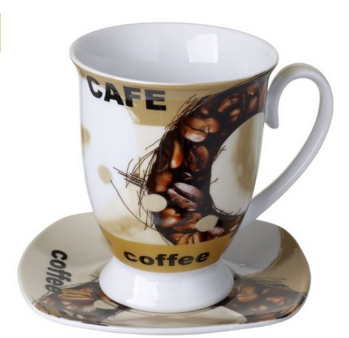 Cucina Italiana Porcelain Coffee Mug and Saucer Set Bean Decor