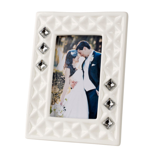 Italian Bone China White Picture Frame w. Swarovski Crystal