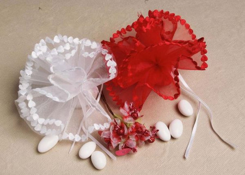 Heart Edge Tulle 25 pcs per Bag wedding party favors clearance