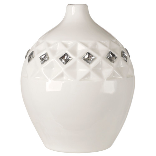 Bone Chine Vase White with Swarovski Crystals