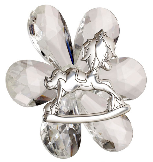 Italian 925 Silver And Crystal Rocking Horse